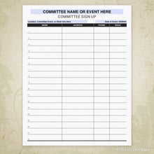 Load image into Gallery viewer, Committee Sign Up Printable Form (editable)