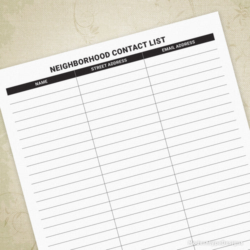 Neighborhood Contact List Sign Up Sheet Printable for Clipboard