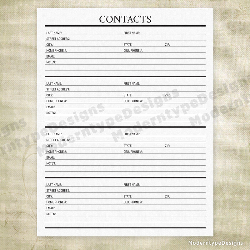 Contacts Printable - End of Life