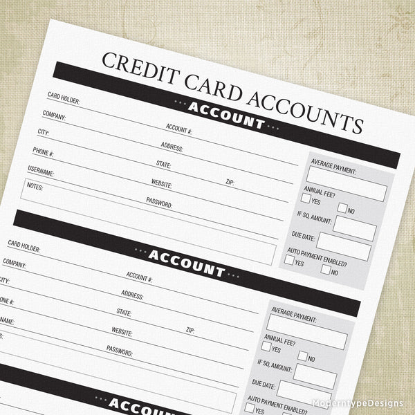 Credit Card Accounts Printable