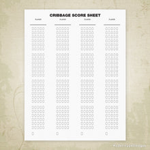 Cribbage Score Sheet Printable Form