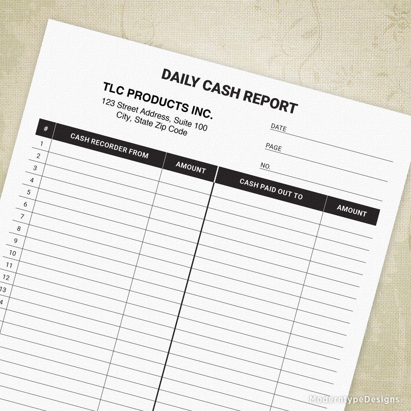 Daily Cash Report Printable Form (personalized)