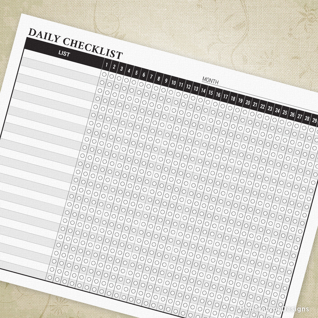 Daily Checklist Planner Printable