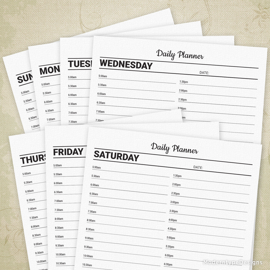 Daily Planner Printable with Lines