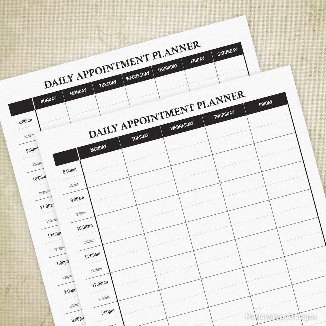 Daily Appointment Planner Printable