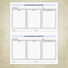 Load image into Gallery viewer, Daycare Child Report Printable Form (editable)