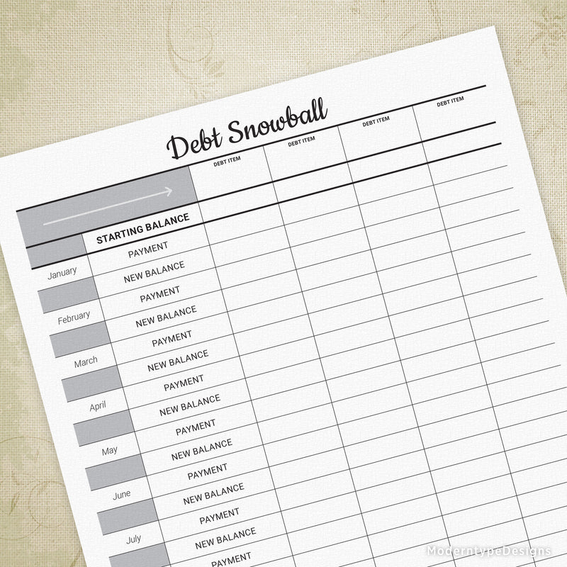 Debt Snowball Tracker Printable