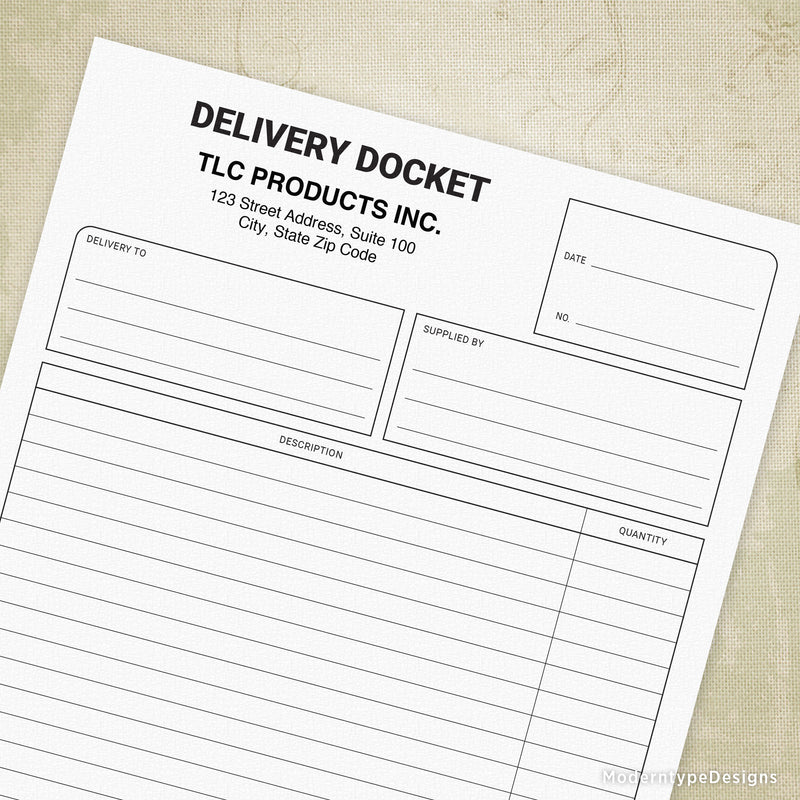 Delivery Docket Printable Form with Lines (personalized)