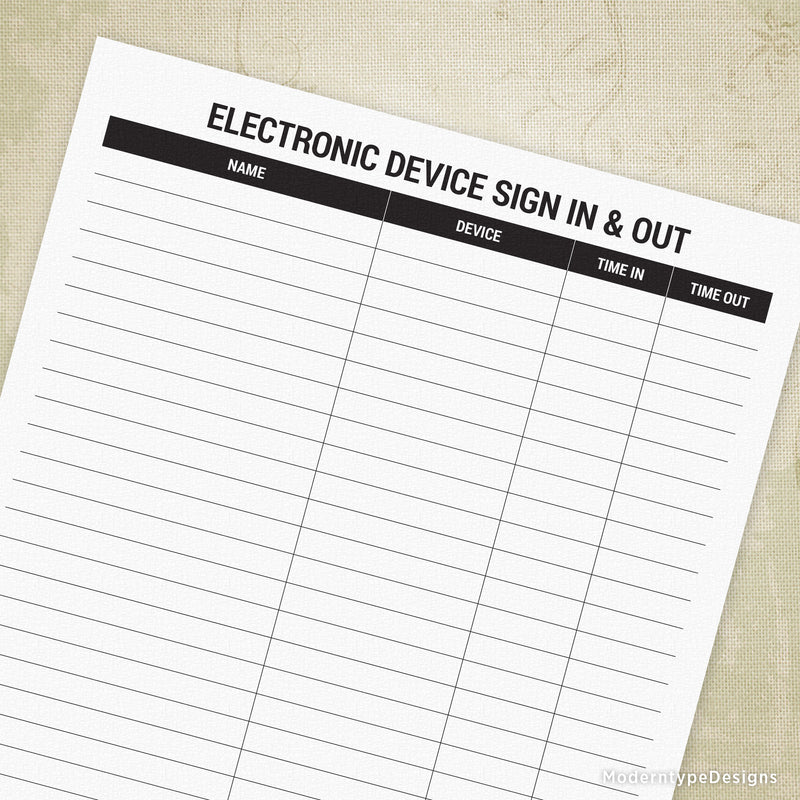 Electronic Device Sign In & Out Printable Form