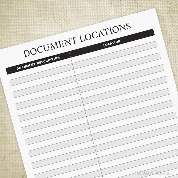 Document Locations Printable - End of Life