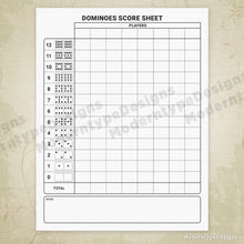 Load image into Gallery viewer, Dominoes Scoring Sheet Printable