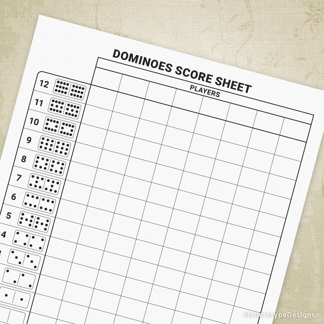 Dominoes Scoring Sheet Printable
