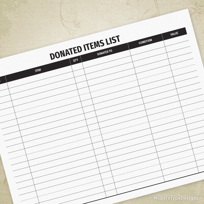 Donated Items List Printable