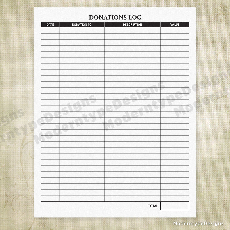 Donations Log Printable