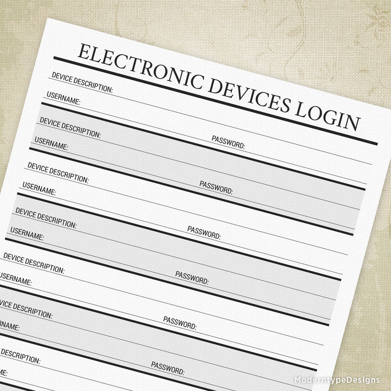 Electronic Devices Login Printable - End of Life