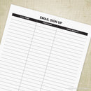 Email Sign Up Sheet Printable for Clipboard