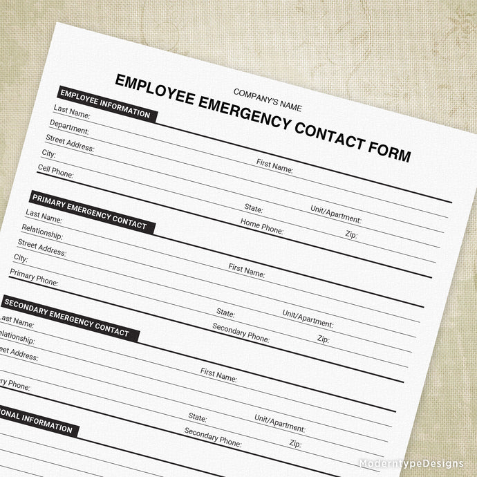 Emergency Contact Printable Form (editable)