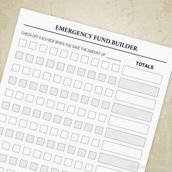 Emergency Fund Builder Printable