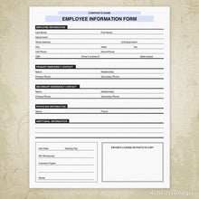 Load image into Gallery viewer, Employee Information Printable Form (editable)