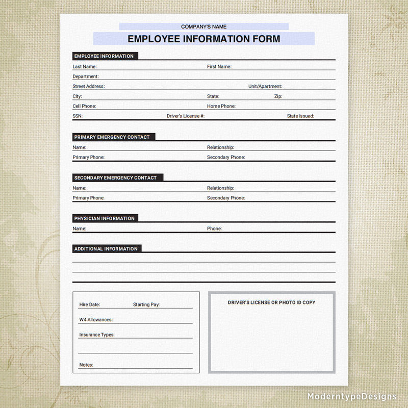 Employee Information Printable Form (personalized)