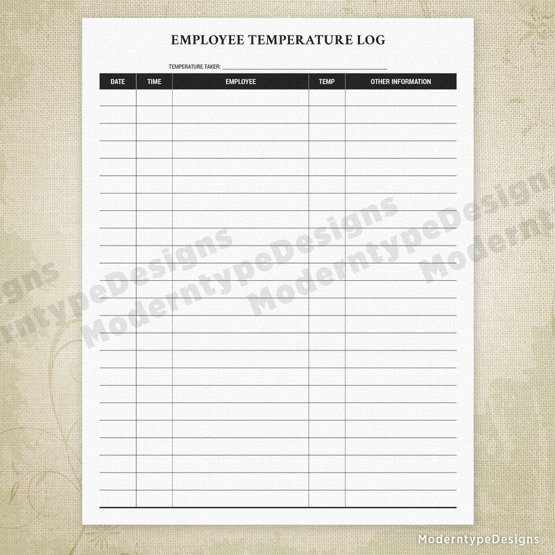 Employee Temperature Log Printable Form