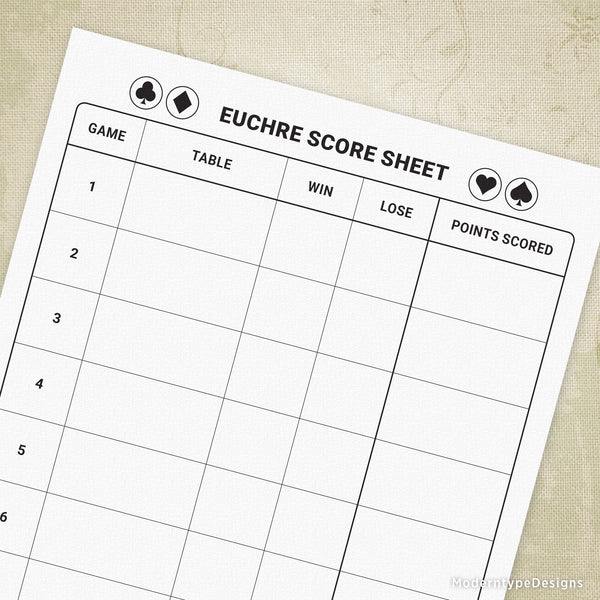Euchre Score Sheet Printable