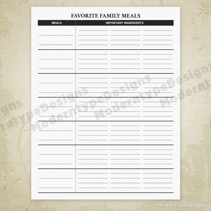 Favorite Family Meals Printable with Lines