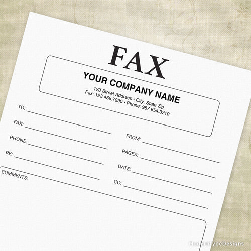 Fax Cover Sheet Printable Form (editable)