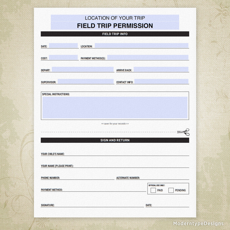 Field Trip Permission Printable (editable)