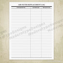 Air Filter Log Printable Form