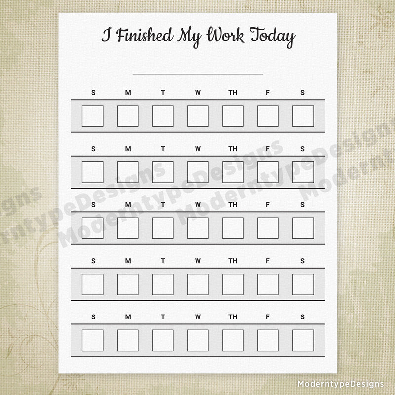 I Finished My Work Printable Chart