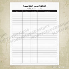 Load image into Gallery viewer, Daycare Fire Drill Log Printable (editable)