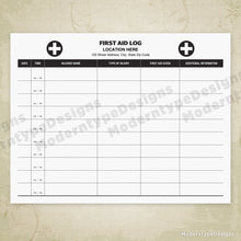 Load image into Gallery viewer, First Aid Log Printable (editable)