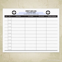 First Aid Log Printable (editable)