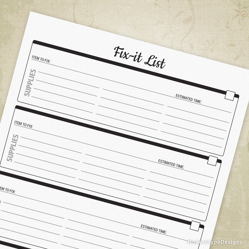 Fix-it List Printable