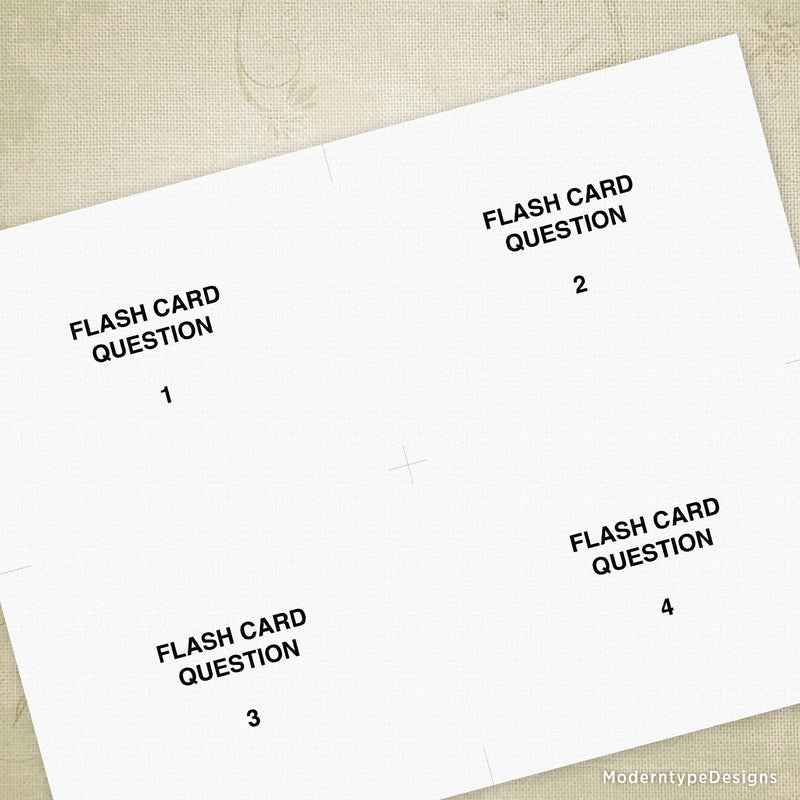 Flash Cards Printable - Large (editable) 5.5 x 4.25""