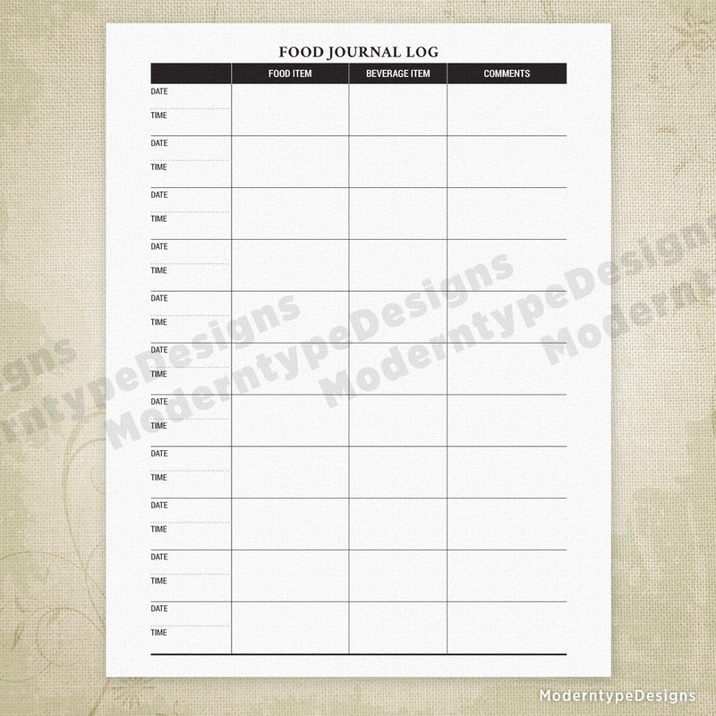 It is an image of Food Log Printable within weekly