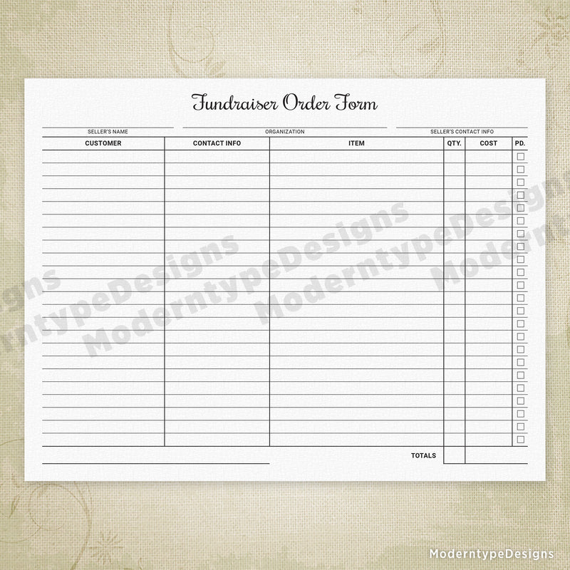Fundraiser Order Form Printable (personalized)
