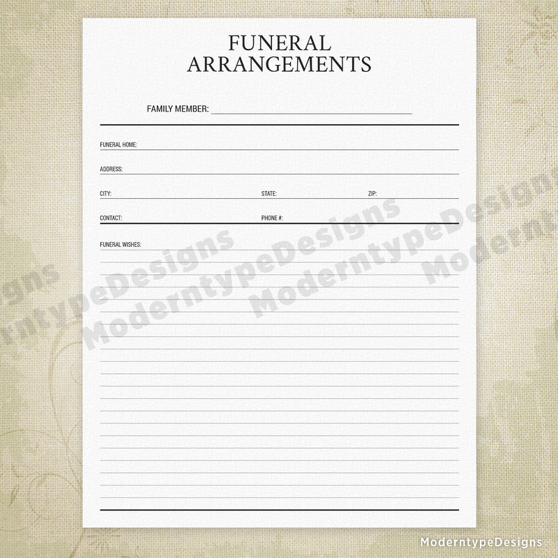 Funeral Arrangements Printable - End of Life