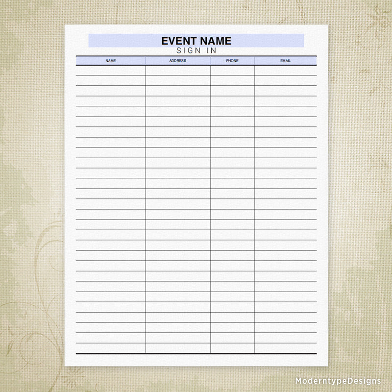 Event Sign In Sheet Printable (editable)