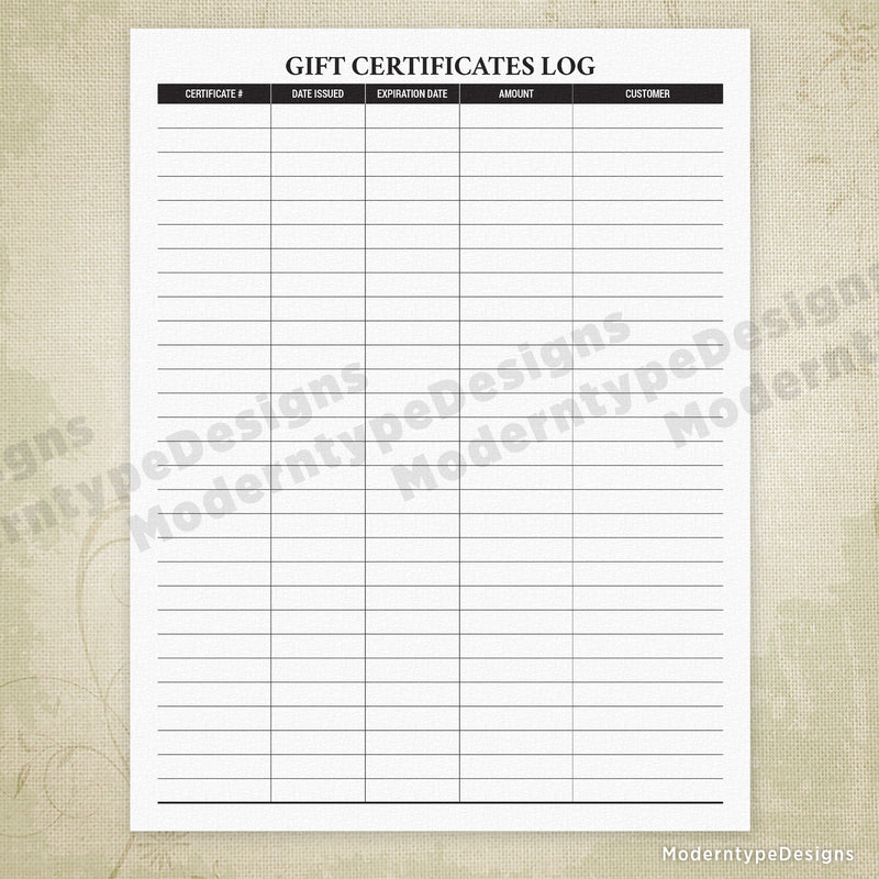 Gift Certificates Log Printable
