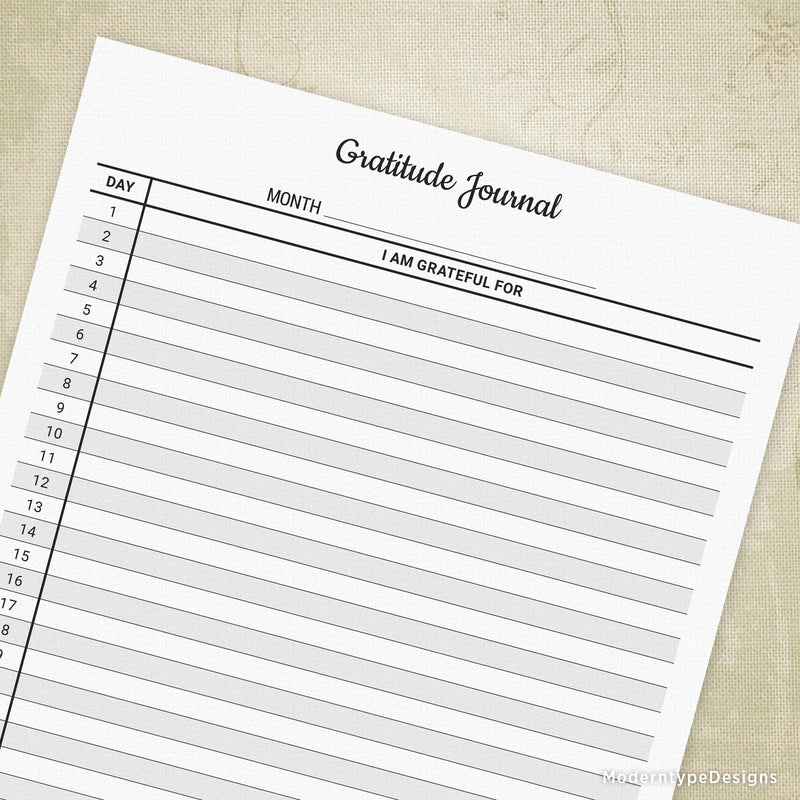Monthly Gratitude Journal Printable