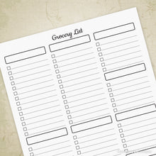 Load image into Gallery viewer, Grocery List Printable Sheet