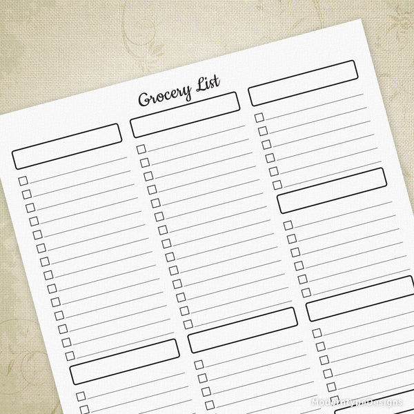 Grocery List Printable Sheet