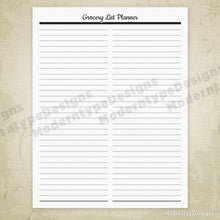 Load image into Gallery viewer, Simple Grocery List Printable Sheet