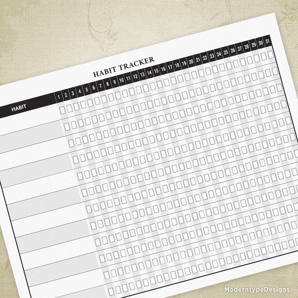 Habit Tracker Short List Printable Form