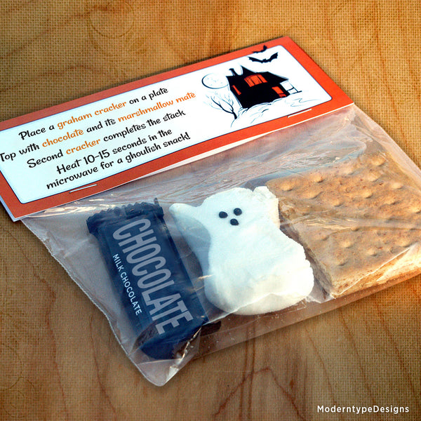 Happy Halloween S'mores Bag Topper Printable Tag (editable)
