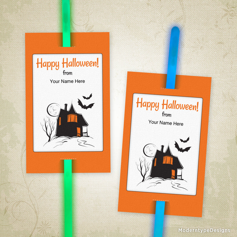 Halloween Glow Stick Pencil Tag Insert Printable (editable)