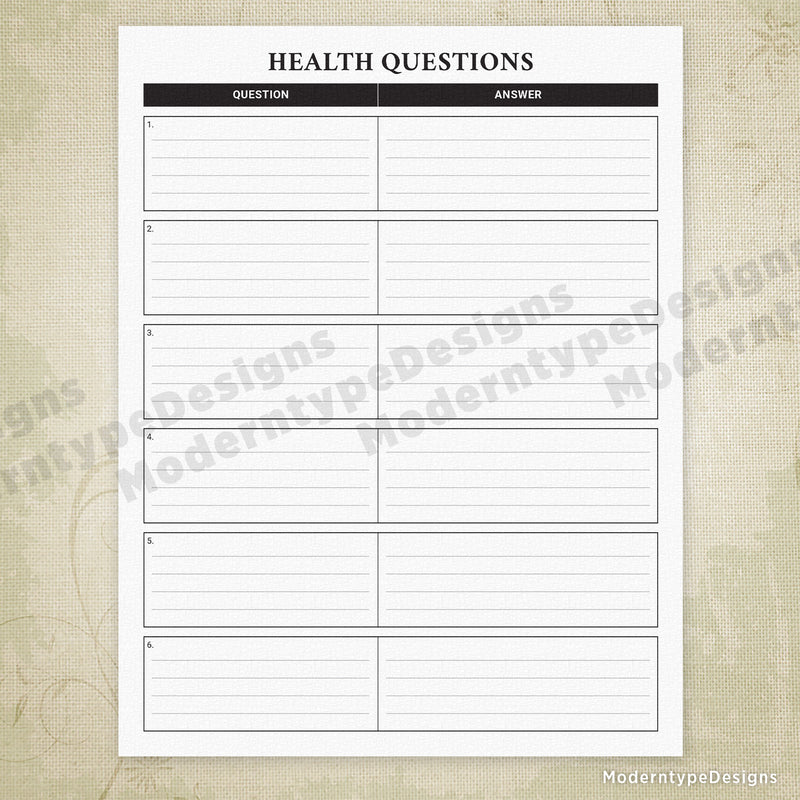 Health Questions Printable Form