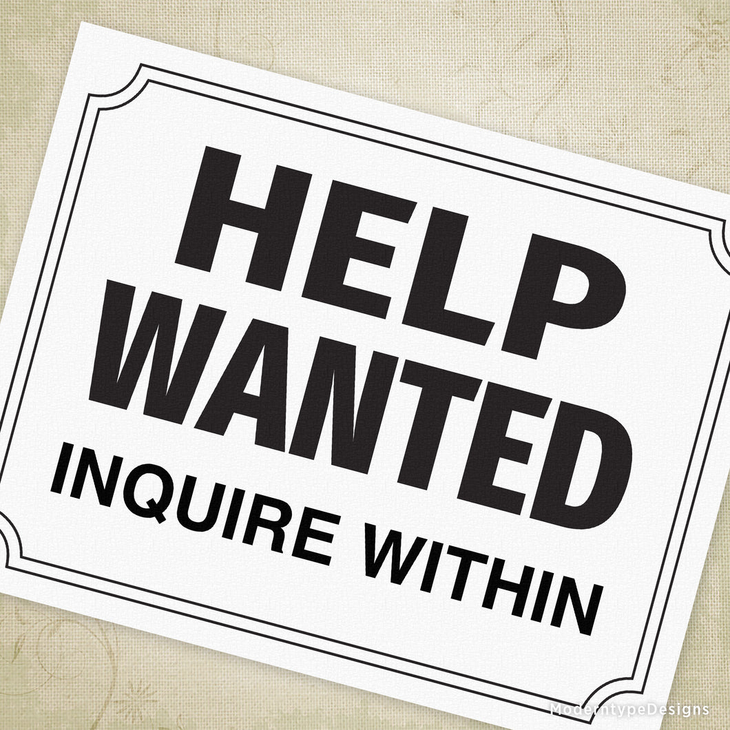 photograph regarding Printable Help Wanted Sign identify Guidance Desired Printable Indication (editable) Moderntype Ideas
